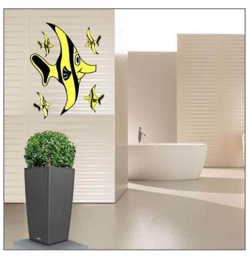 Sticker poisson jaune noir