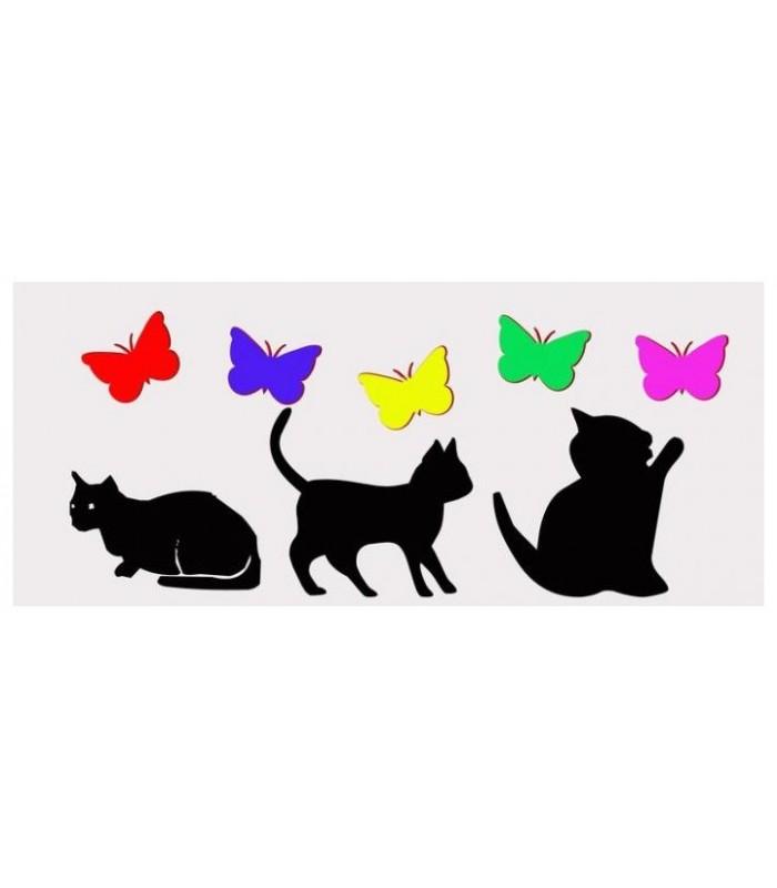 """Black Cat 16/""""x16/"""" 40 cm Housse de coussin chat avec jaune yeux verts Blanc Moustache"""