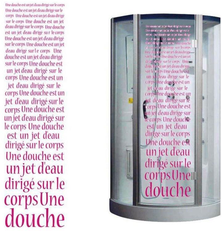 pour la cabine de douche et la salle de bain stickers douche. Black Bedroom Furniture Sets. Home Design Ideas