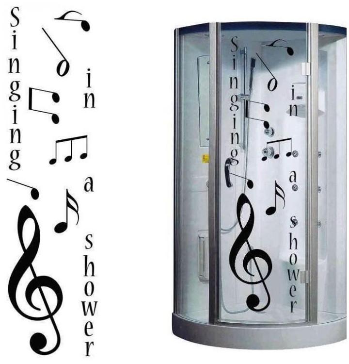 des stickers sur le theme de la musique pour cabine de douche et bain. Black Bedroom Furniture Sets. Home Design Ideas