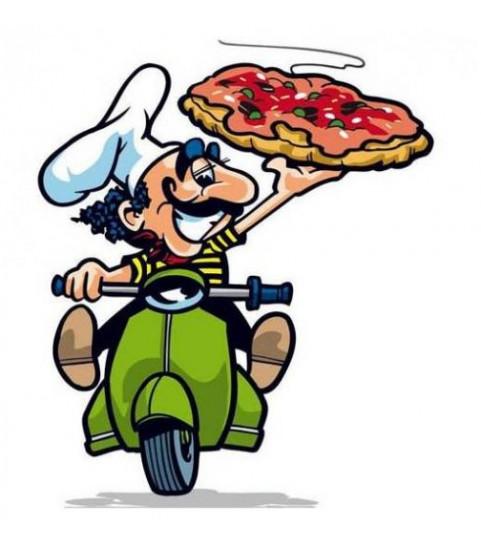 Sticker livreur de pizza