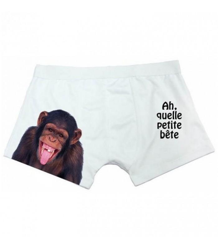 boxer rigolo pour homme avec singe qui fait la grimace cadeau homme rigolo. Black Bedroom Furniture Sets. Home Design Ideas