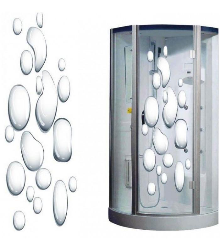 Sticker pour cabine de douche gouttes eau