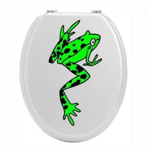 Sticker toilettes grenouille verte