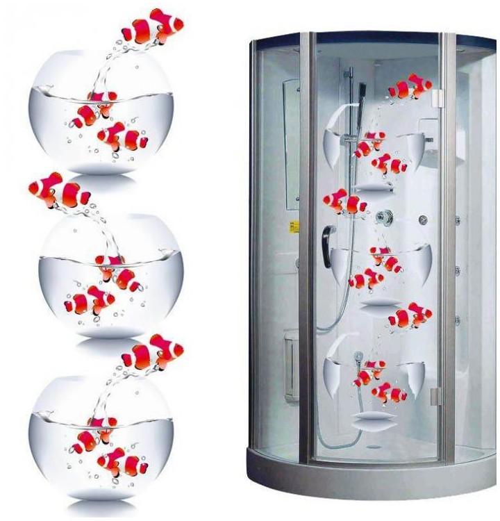 Des stickers de poissons pour la cabine de douche sticker poisson - Stickers resistants a l eau ...