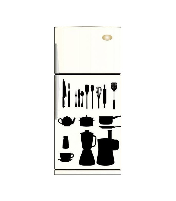 Stickers ustensiles cuisine noir et blanc sticker pour - Ustensile de cuisine original ...