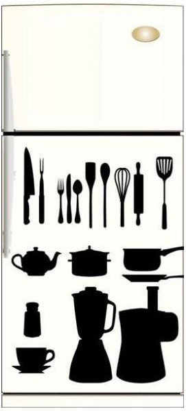 stickers ustensiles cuisine noir et blanc sticker pour la decoration de la cuisine. Black Bedroom Furniture Sets. Home Design Ideas