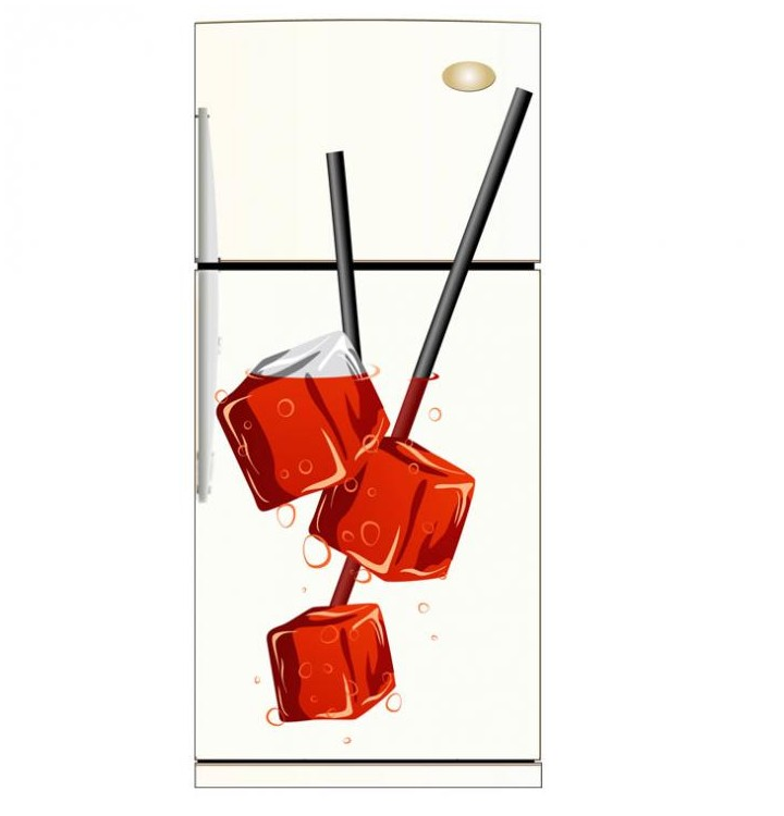 sticker glacon et paille pour le frigo stickers pour la cuisine. Black Bedroom Furniture Sets. Home Design Ideas