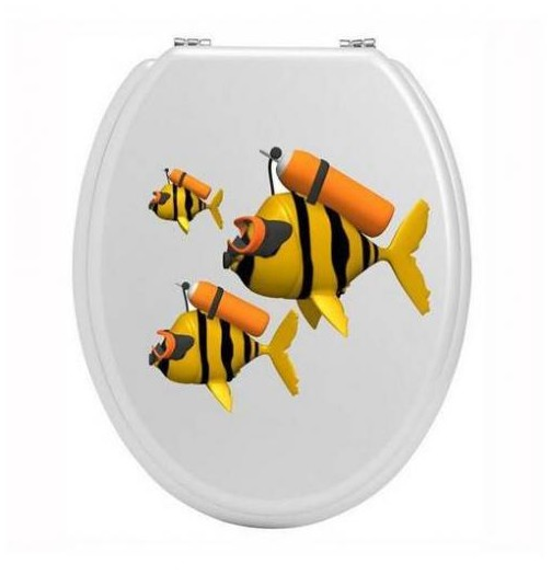 Stickers toilettes poisson plongeur