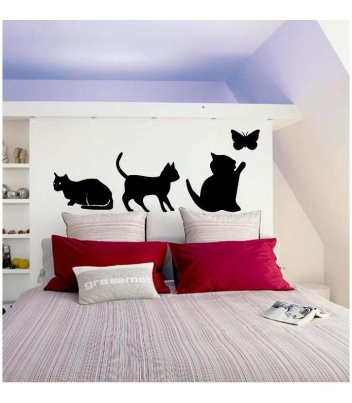 sticker de chat et papillon pour la tete de lit de votre chambre a coucher. Black Bedroom Furniture Sets. Home Design Ideas