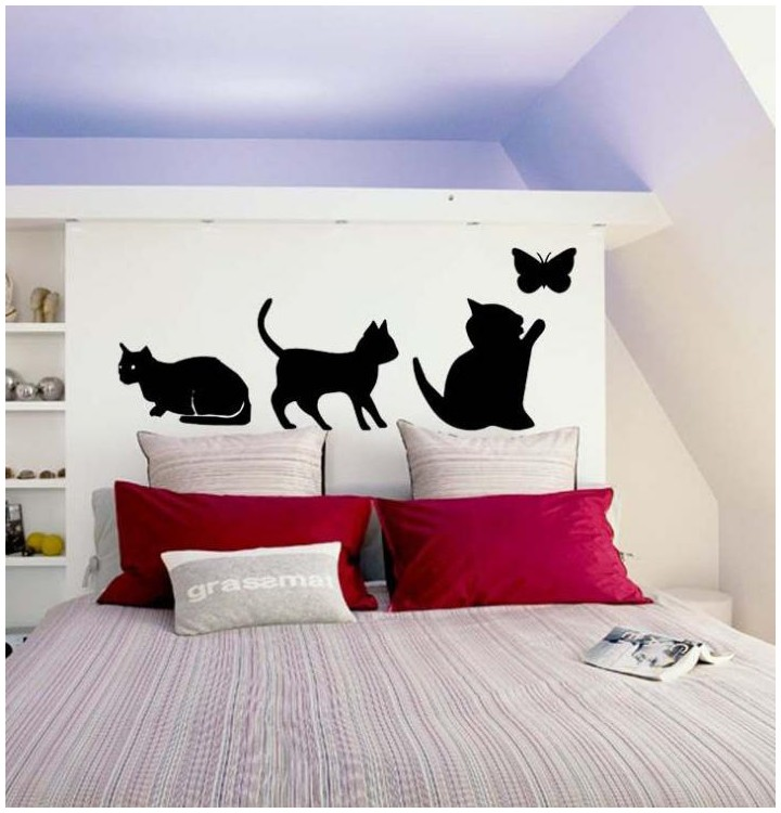 sticker de chat et papillon pour la tete de lit de votre chambre a coucher. Black Bedroom Furniture Sets. Home Design Ideas
