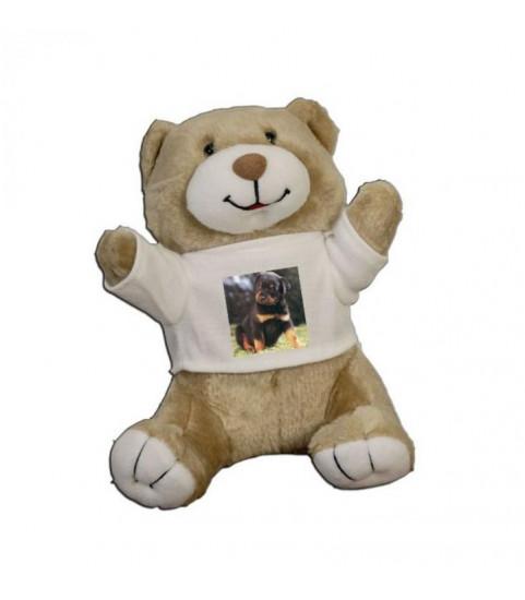 Peluche personnalisée ours beige avec photo
