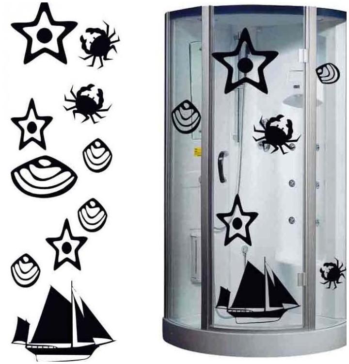 Sticker bateau coquillage et crabe pour salle de bain for Sticker douche salle de bain