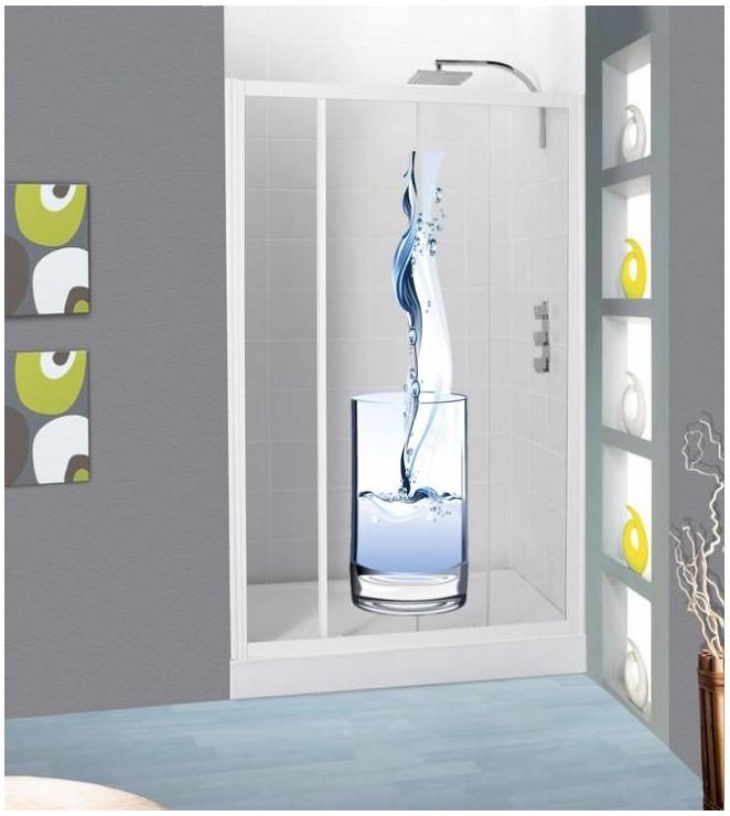 sticker cabine de douche verre et eau pour une douche originale. Black Bedroom Furniture Sets. Home Design Ideas