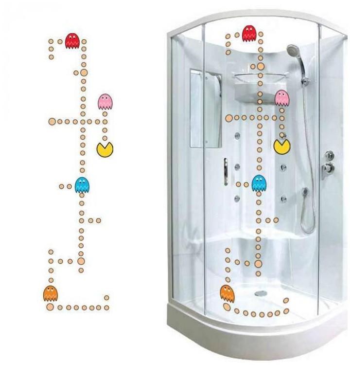 sticker pacman pour la salle de bain stickers decoration. Black Bedroom Furniture Sets. Home Design Ideas