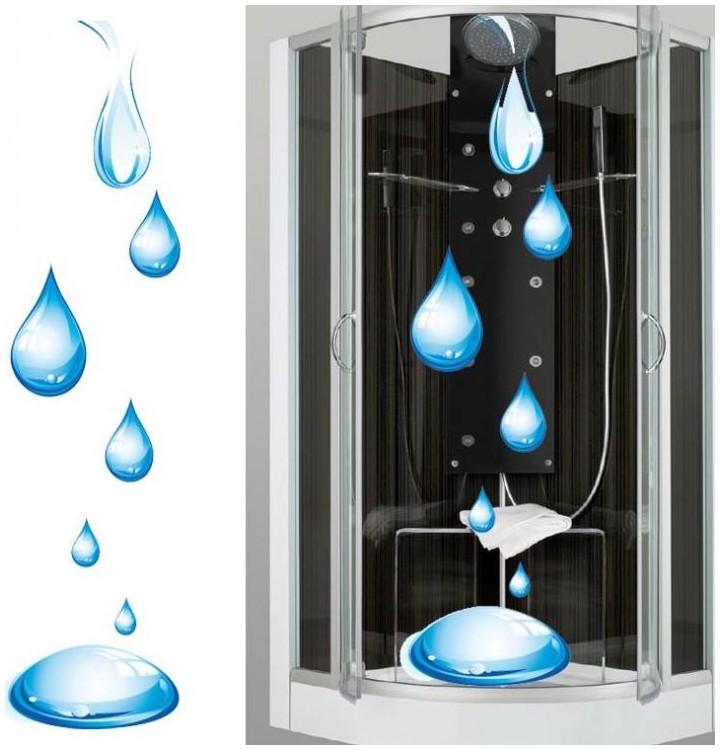 Cr atif et original sticker eau pour cabine de douche de for Stickers porte de douche