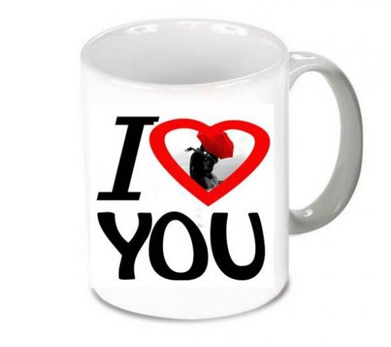 mug pour la saint valentin avec une photo et un joli coeur. Black Bedroom Furniture Sets. Home Design Ideas
