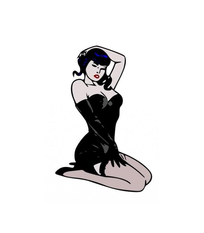Sticker fille en noir