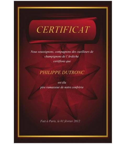 Diplome personnalisé avec impression de texte
