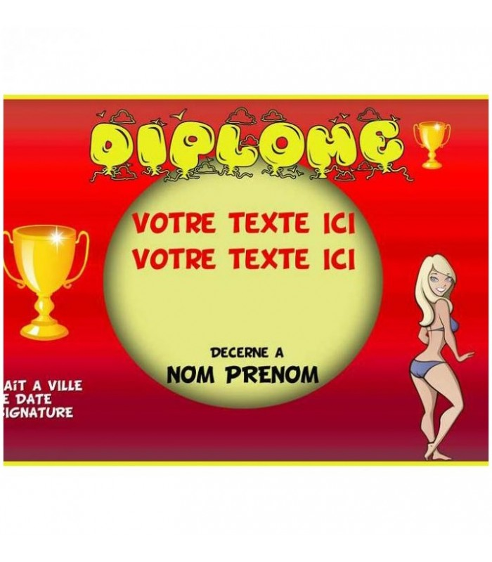 diplome personnalise rigolo femme