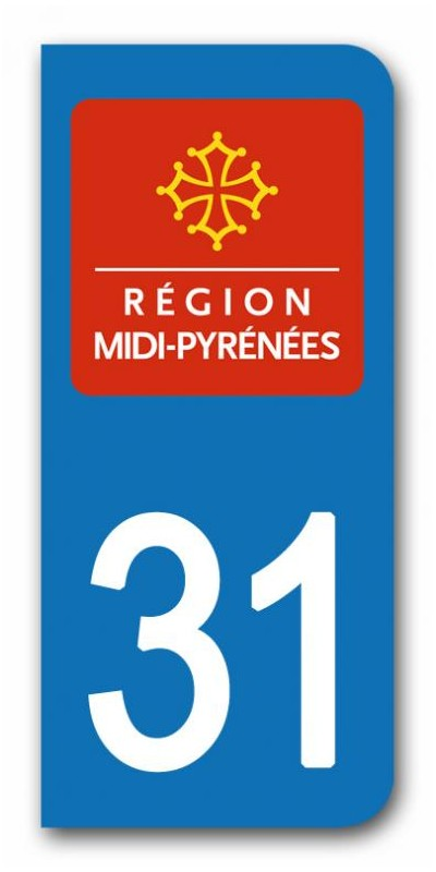 sticker pour plaque immatriculation region midi pyrenees sticker personnalise plaque voiture. Black Bedroom Furniture Sets. Home Design Ideas