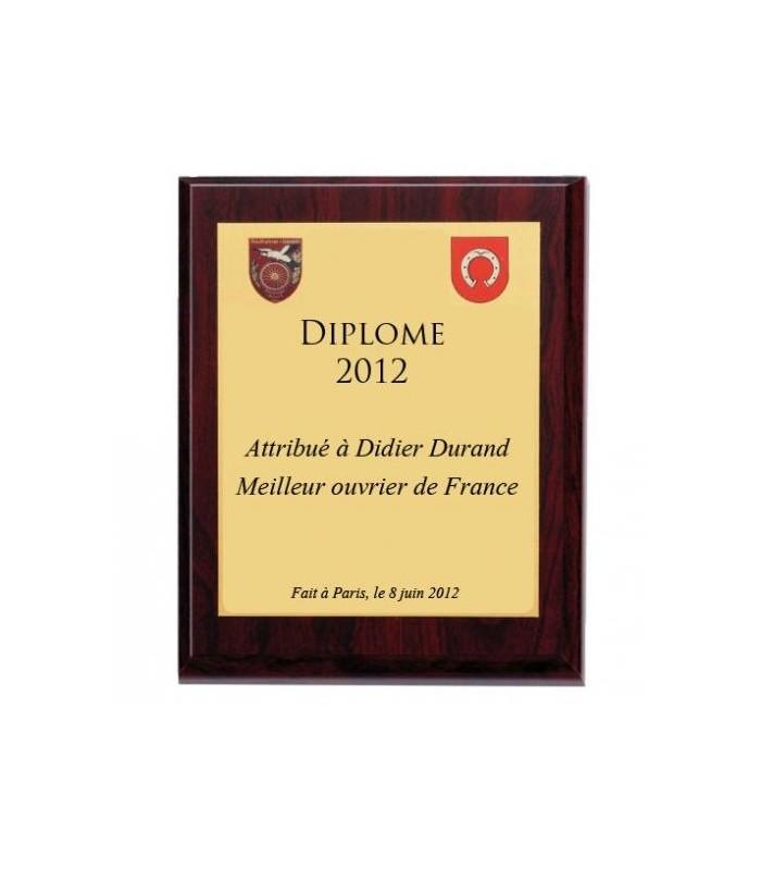 Diplome personnalise en cadre bois