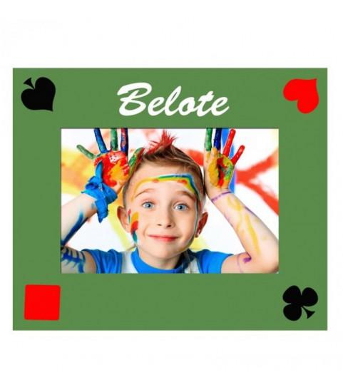 Photo et texte sur un tapis de belote, jouer avec un tapis personnalisé