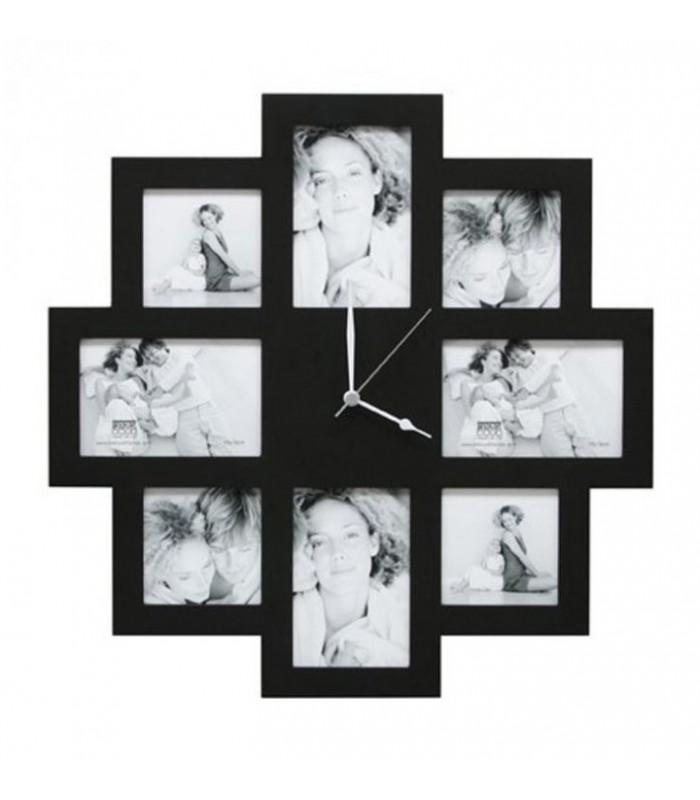 Photos insérées dans une horloge en bois, couleur noir
