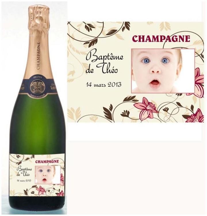 Etiquettes pour bouteille de champagne ou de vin personnalis e avec photo - Combien de bouteille de champagne par personne ...