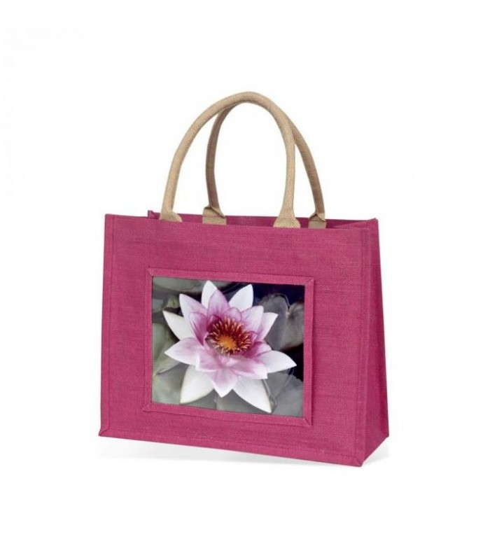 sac en jute rose avec photo