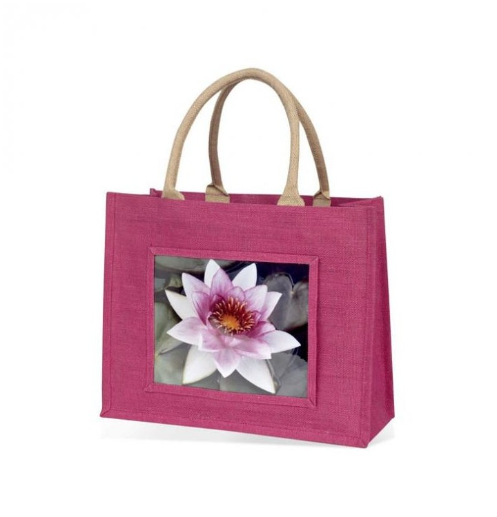 sac jute fushia personnalise photo
