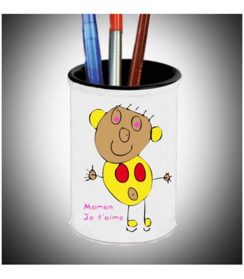 Pot crayons personnalisé avec dessin enfant