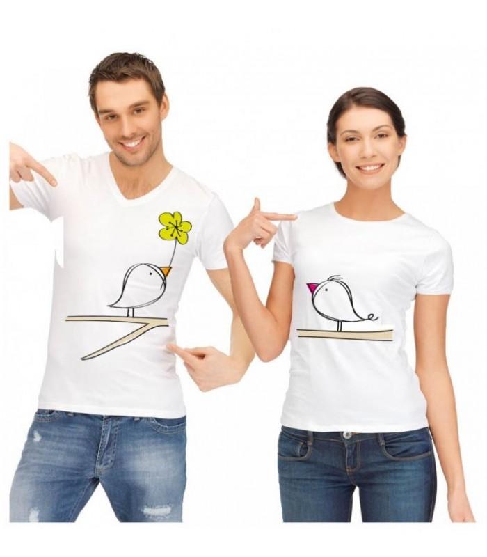 Tee shirt duo oiseaux sur arbre