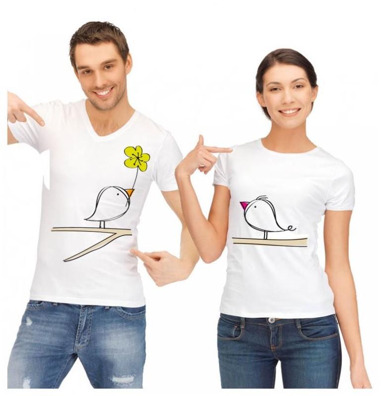 un duo tee shirt original et pas cher avec de petits oiseaux. Black Bedroom Furniture Sets. Home Design Ideas