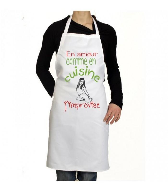 Tablier de cuisine rigolo improviser en amour