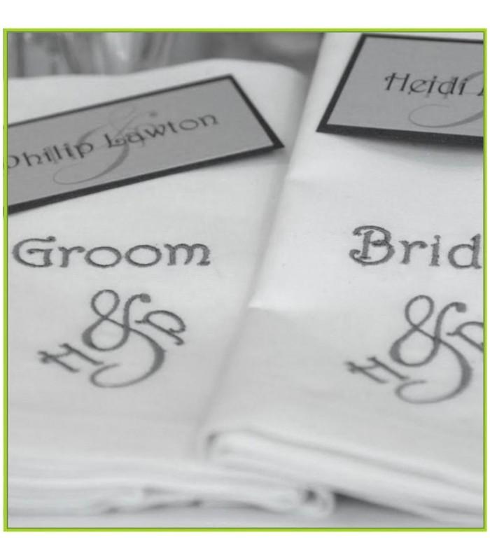 serviette table brodee