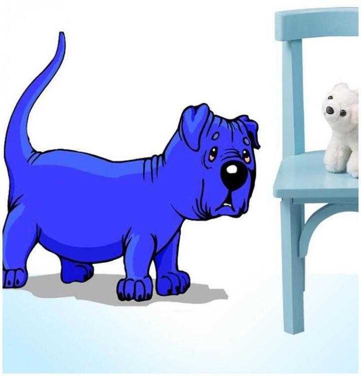 Sticker chien bleu