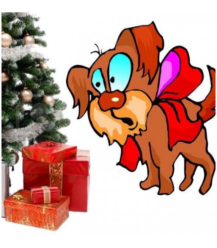 sticker chien cadeau