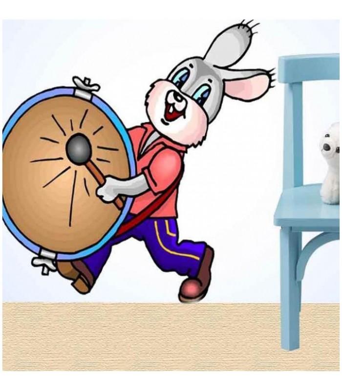 sticker lapin tambour