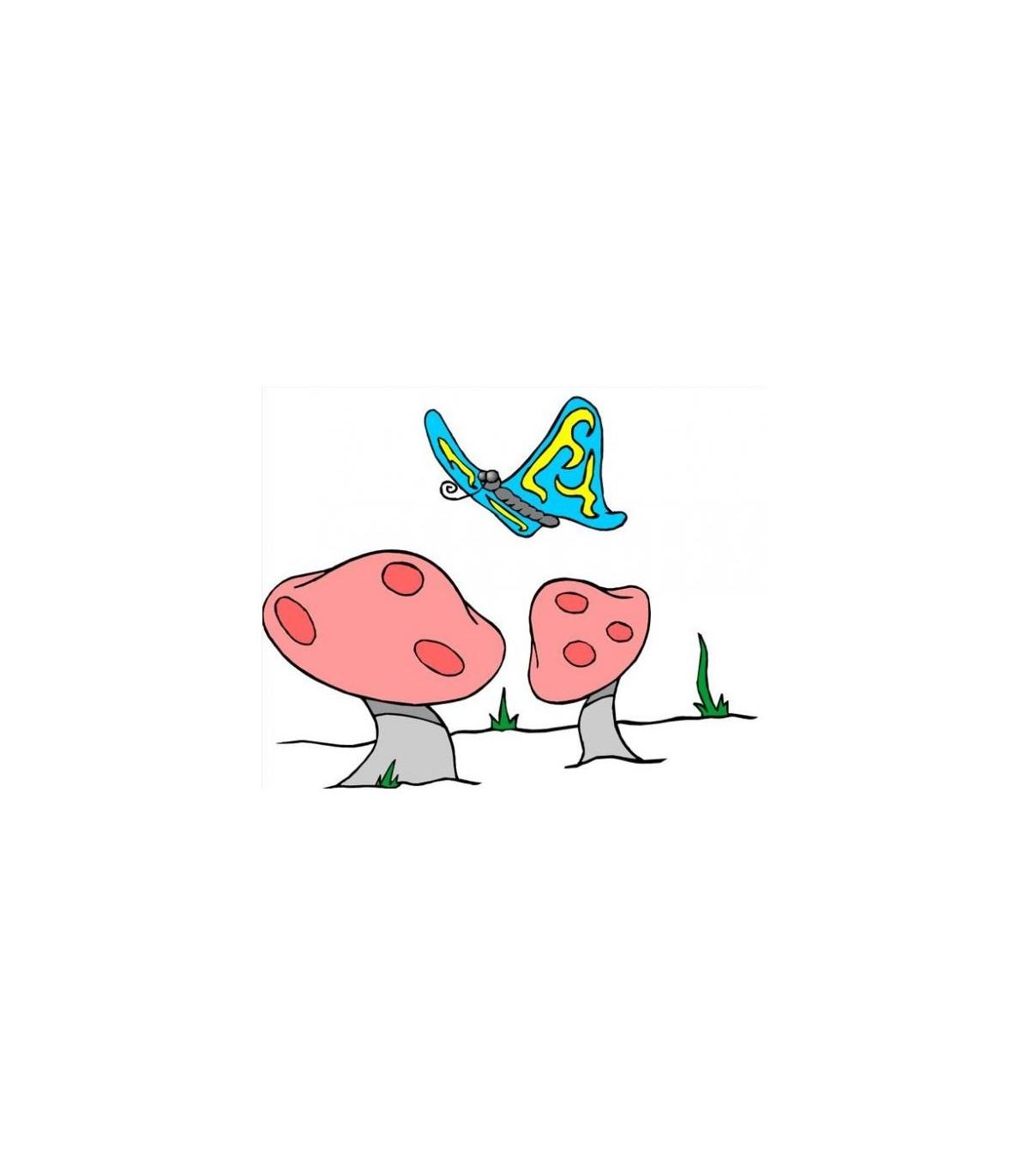 Sticker papillon et champignon