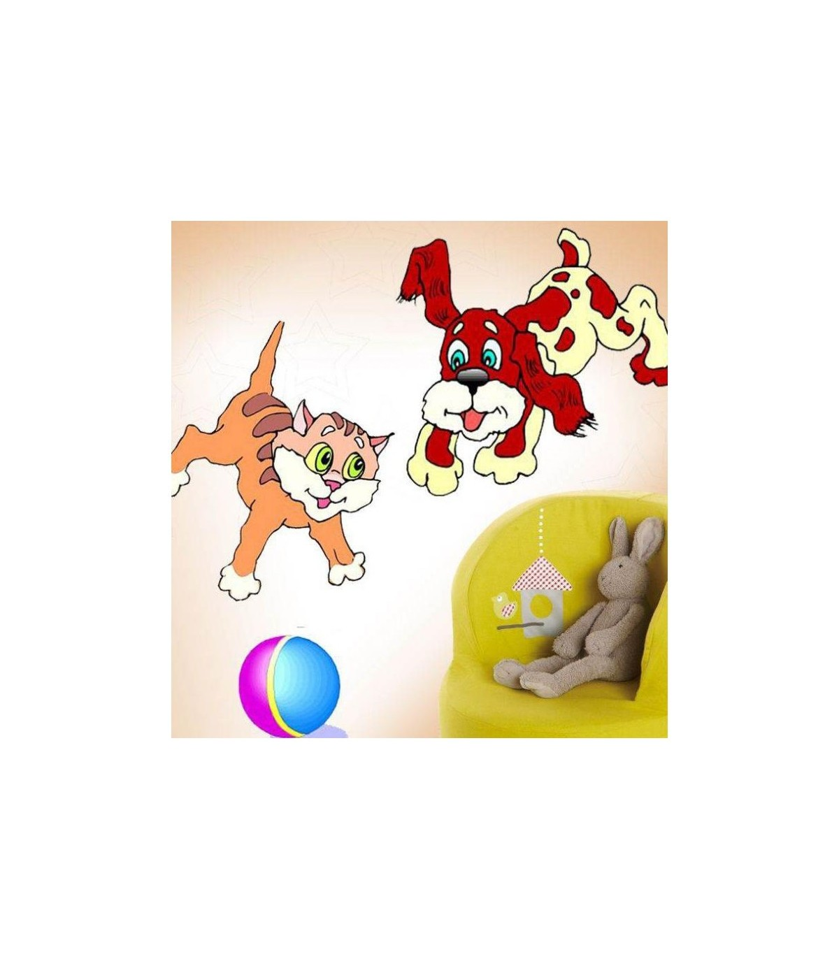 Sticker chat et chien jouent
