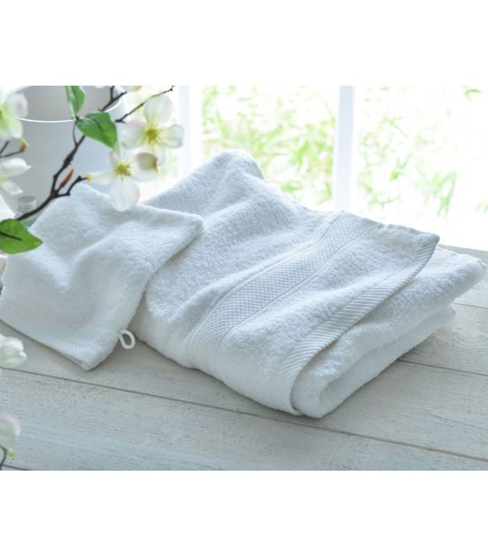 drap de bain brodé blanc