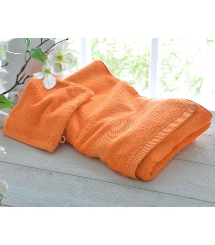 Drap de bain orange brodé