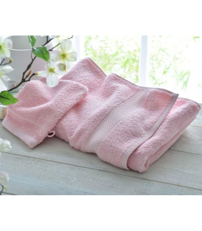 Drap de bain rose brode