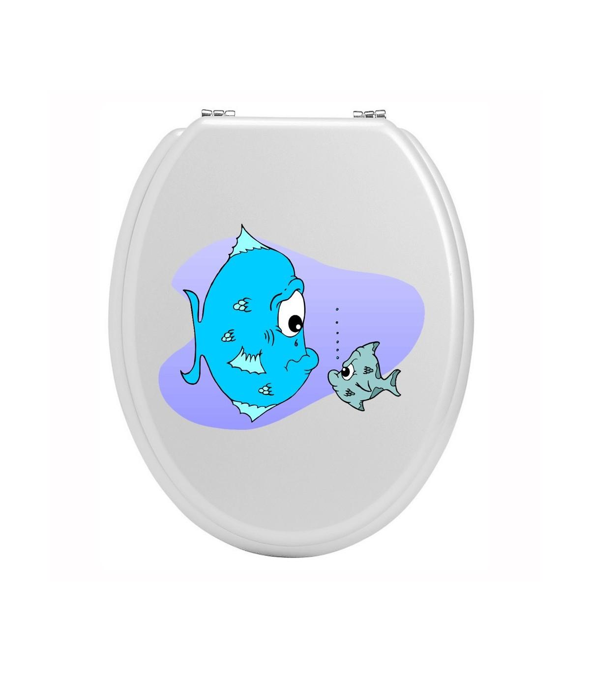 Stickers toilettes regard de poissons
