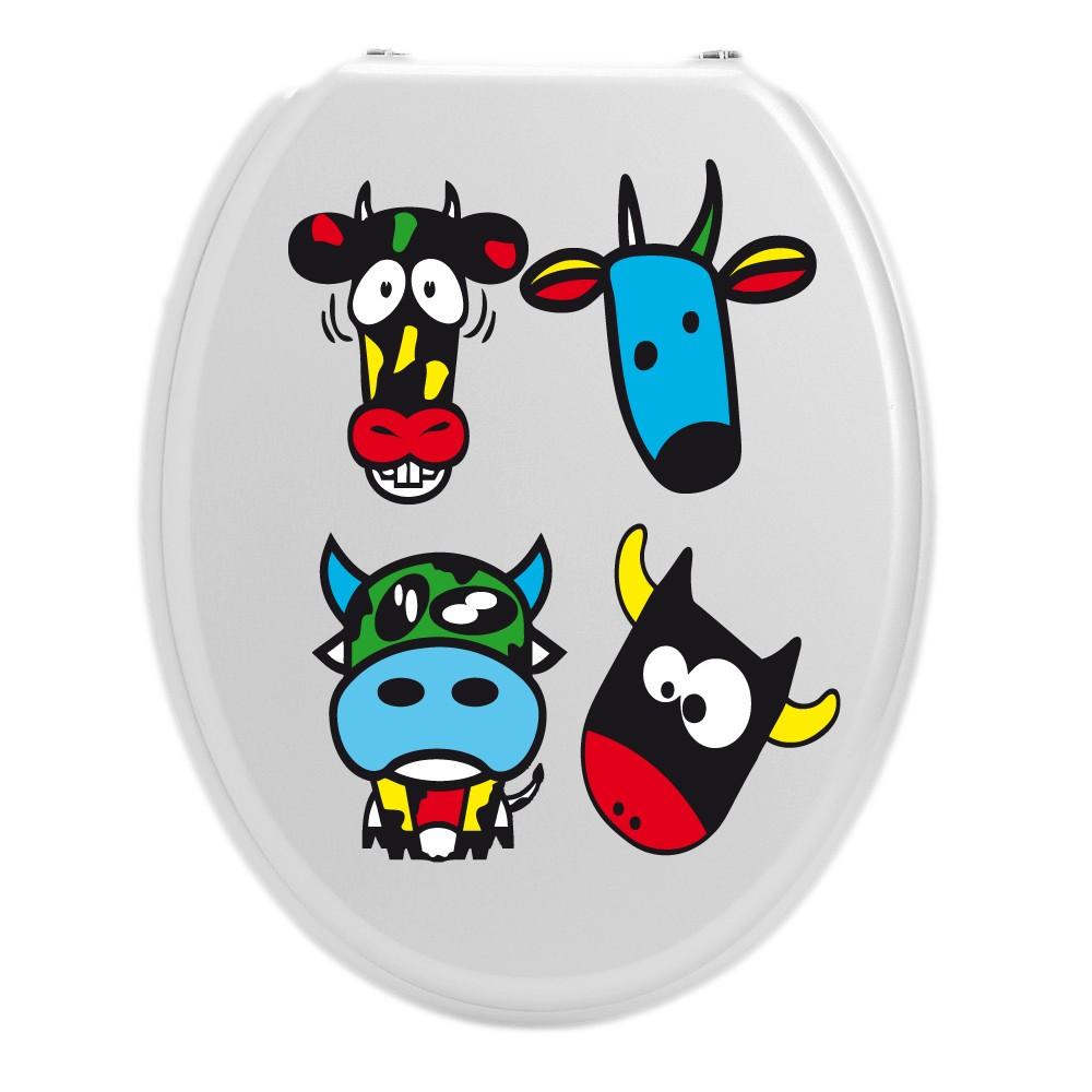 sticker wc pour les toilettes des vaches souriantes et colorees. Black Bedroom Furniture Sets. Home Design Ideas