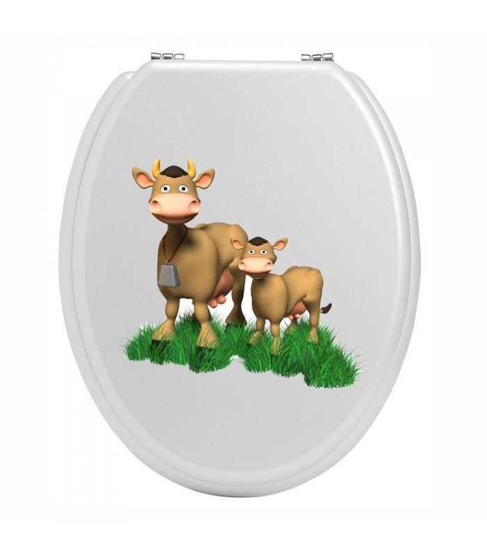 Sticker pour wc vaches colorees