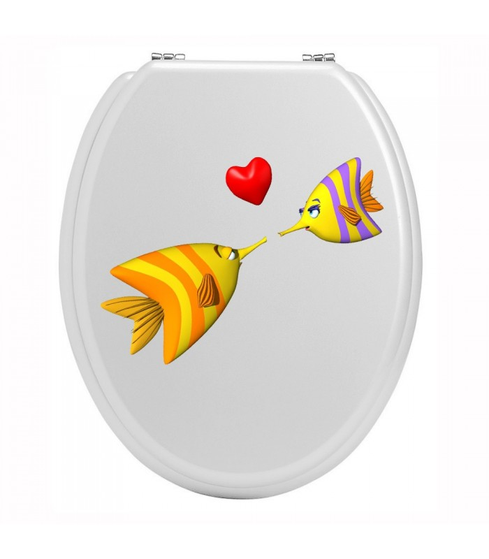 Stickers toilettes amour de poisson