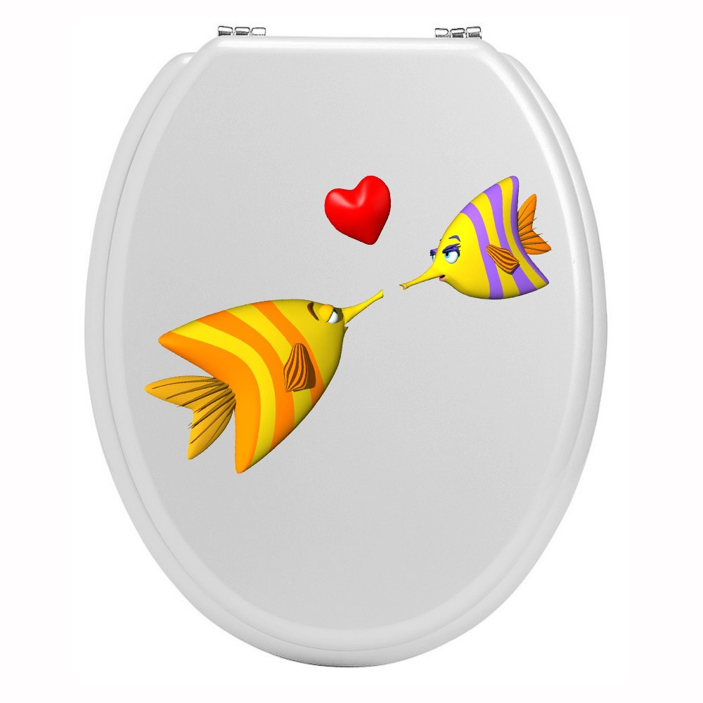 Stickers toilettes amour de poisson
