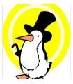 sticker pingouin en costume